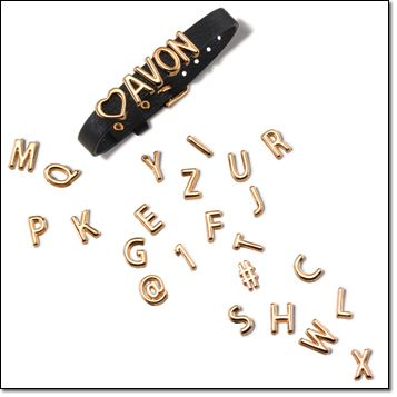 """Avon - Affirmation Bracelet Say what you mean with a motivating message. Includes 26 letters and #, @, 1 and heart symbols in goldtone. Leatherlike 9"""" L band with a buckle adjusts from 6 1/2"""" to 8 1/2"""" L. Campaign 5: $14.99 if purchased separately http://youravon.com/irmae"""