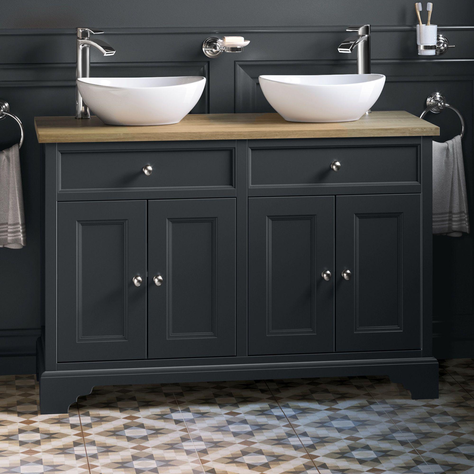 1200mm Loxley Charcoal Countertop Unit Double Camila Basin Floor Standing Soak Com Double Vanity Bathroom Double Vanity Unit