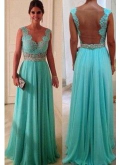 Gorgeous V Neck Chiffon Lace with Beaded Waist Backless Evening Dress