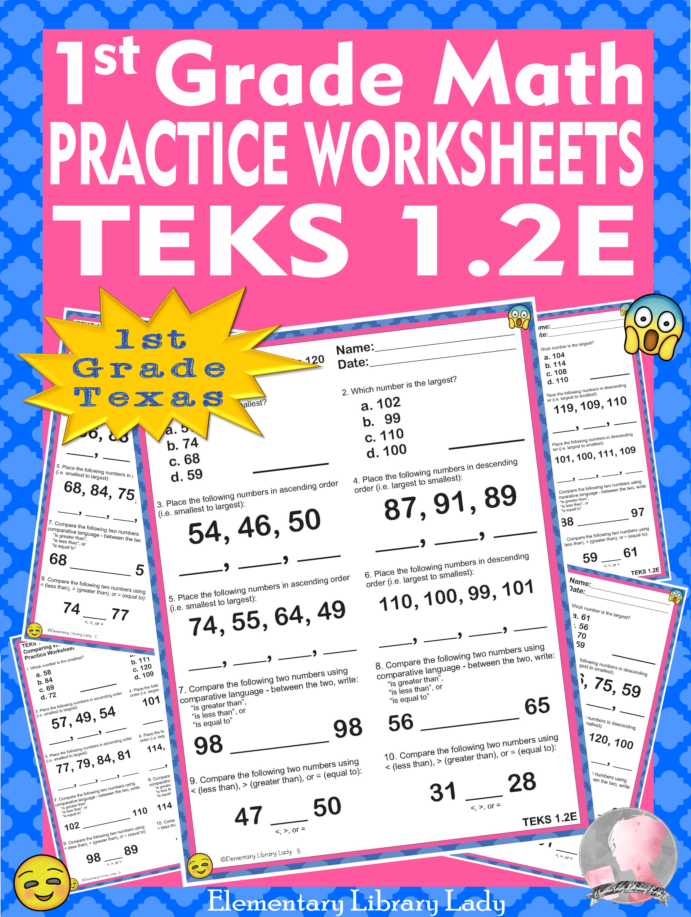 Math TEKS 1.2E Worksheets Texas Comparing Whole Numbers to 120   Math teks [ 3135 x 2363 Pixel ]