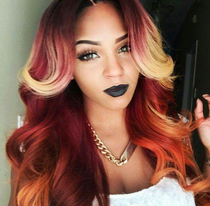 Red Blonde Front Highlights Color Hair Hair Styles Long Hair Styles Hair