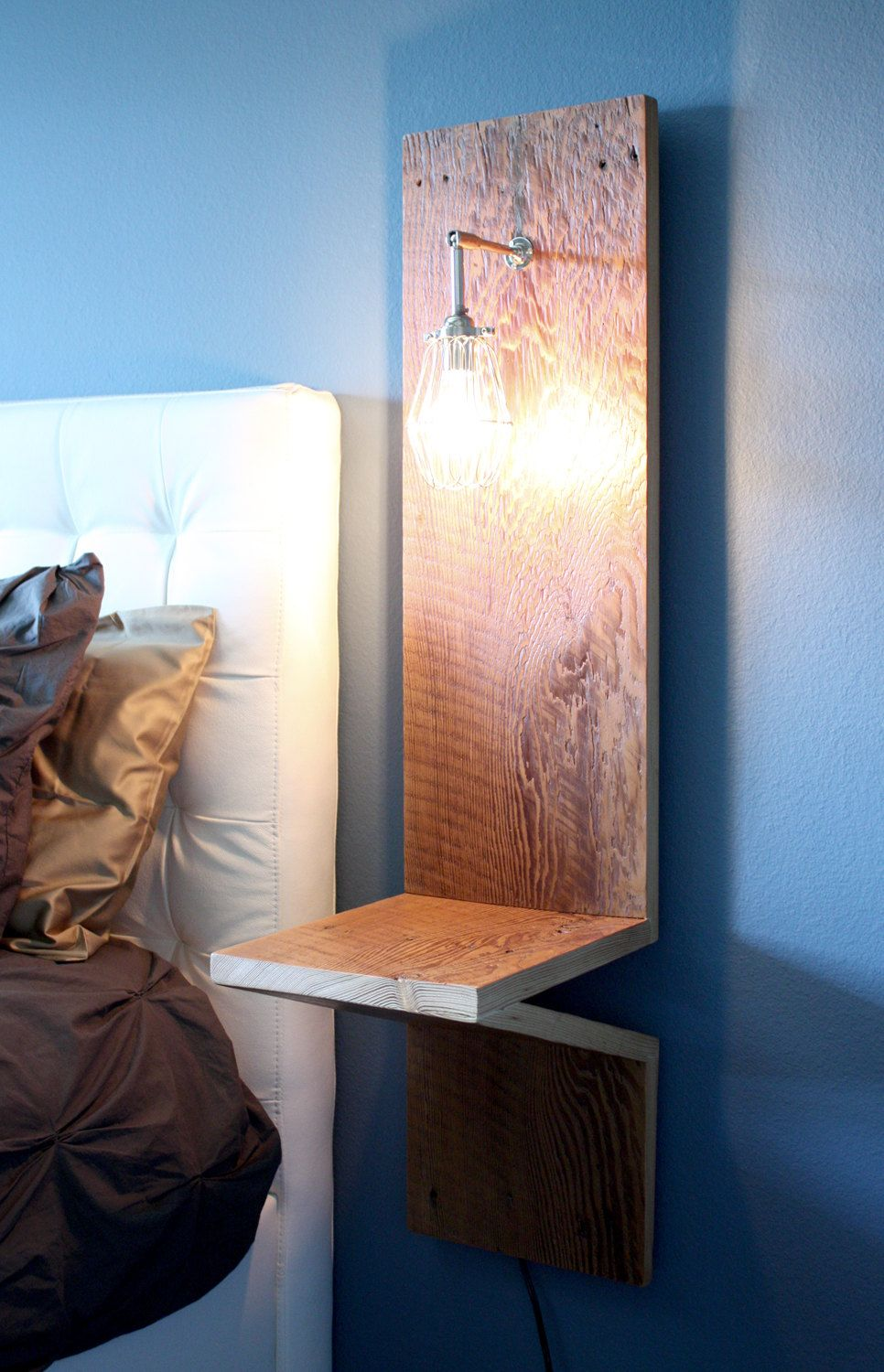 Nightstand W Built In Cage Lamp Reclaimed Barn Wood Weathered Chrome Sconce Bedroom Bedside Table