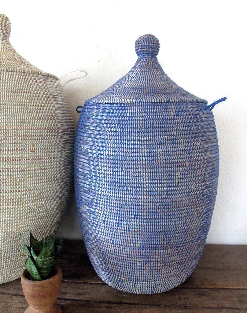 Handmade Laundry Basket Xl In Plain Blue Laundry Hamper