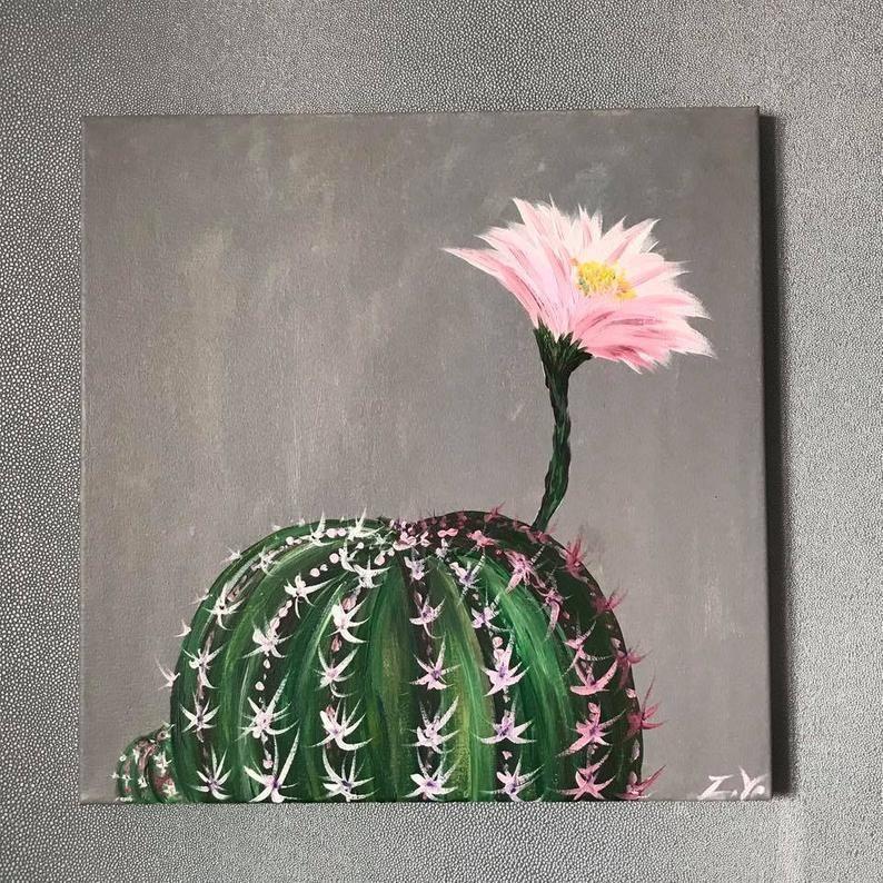 Kaktus Kakteen in Blüte-Acryl-Malerei auf Leinwand