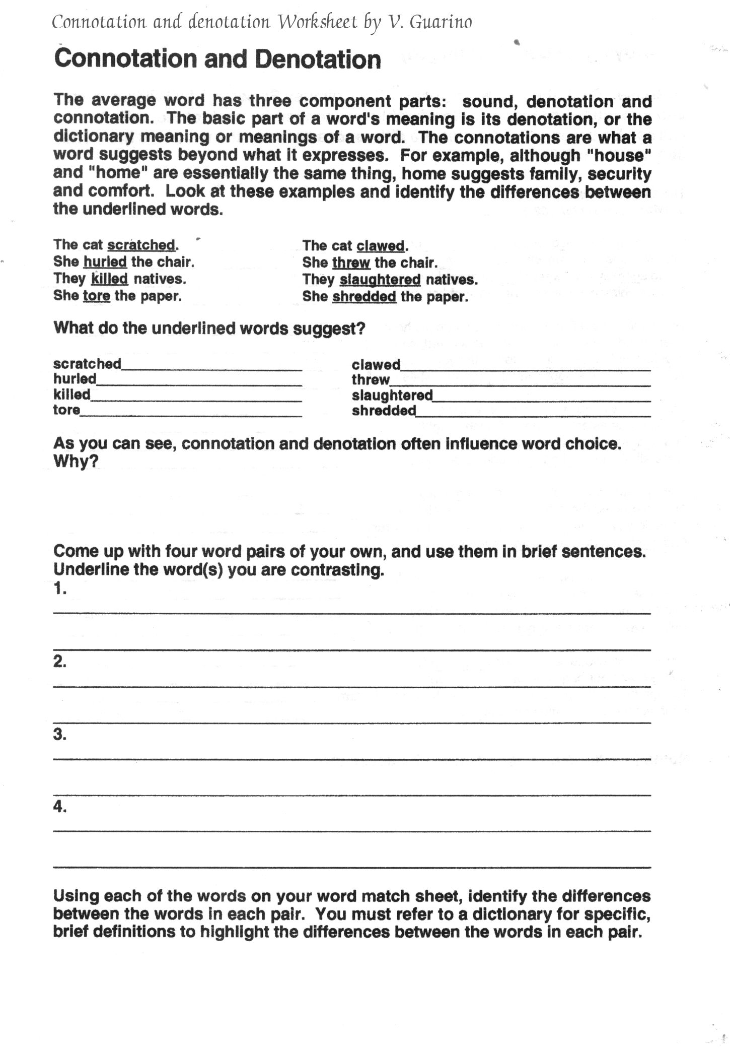 Connotation And Denotation Worksheets For Middle School – Denotation and Connotation Worksheets