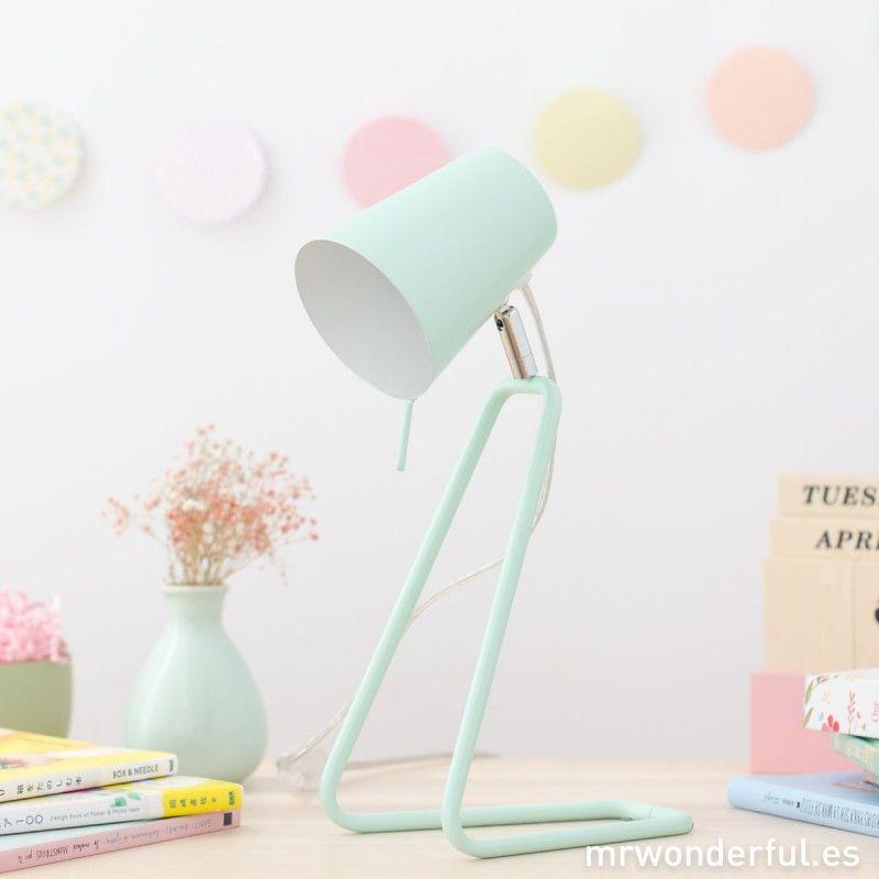 Lámpara mesa metálica color mintIdeas despacho de SVqUMGzp