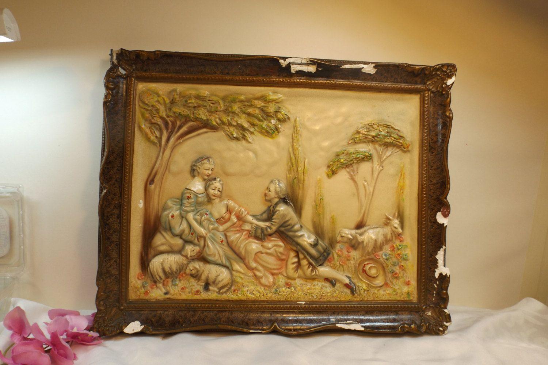 Antique Romantic scene plaque, Home decor. Cast gypsum.Salient image ...
