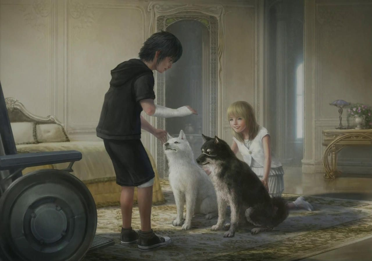 final-fantasy-xv-child-noctis-and-luna-playing-with-dog