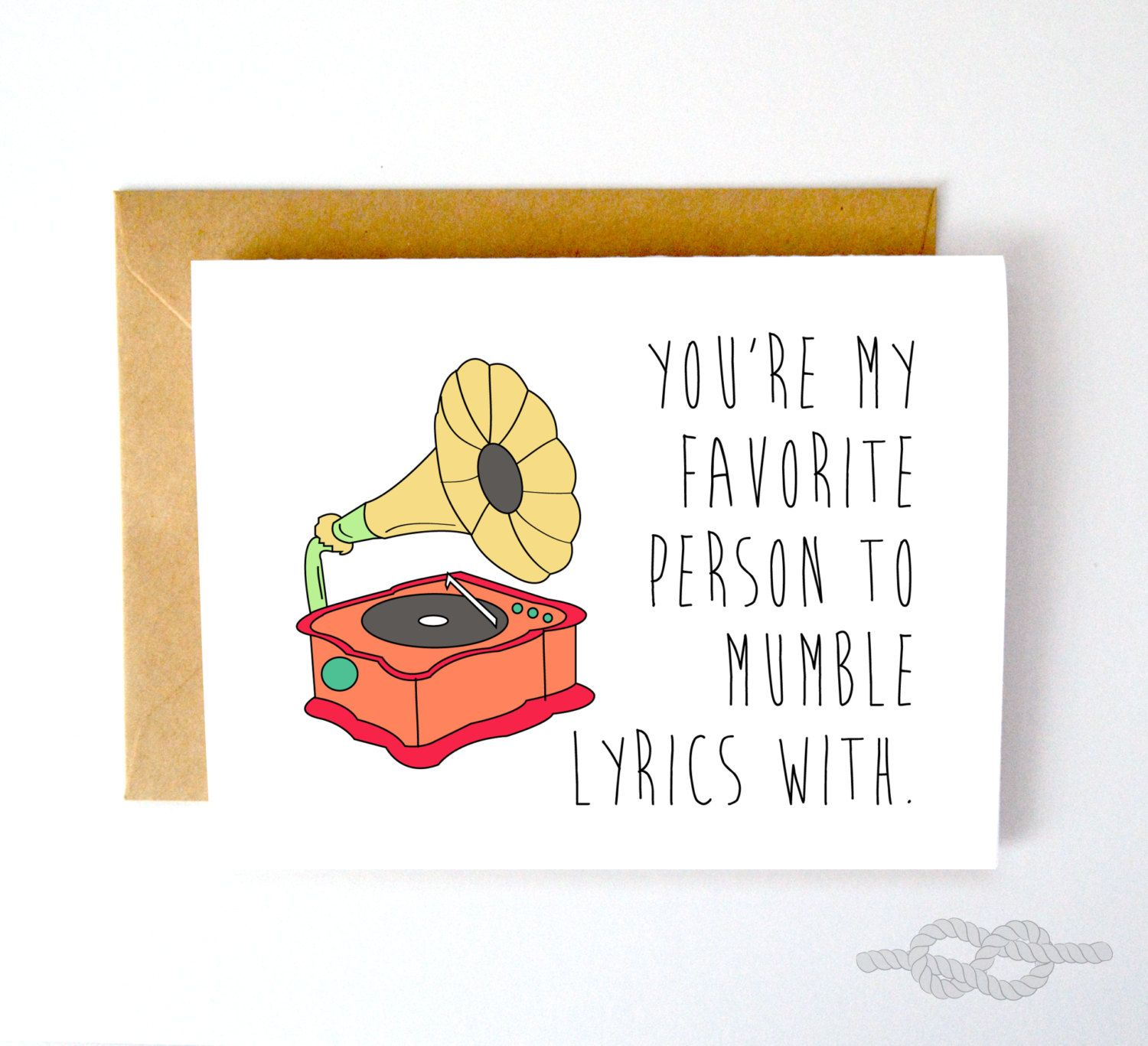Funny Record Card Music Best Friend By KnottyCards