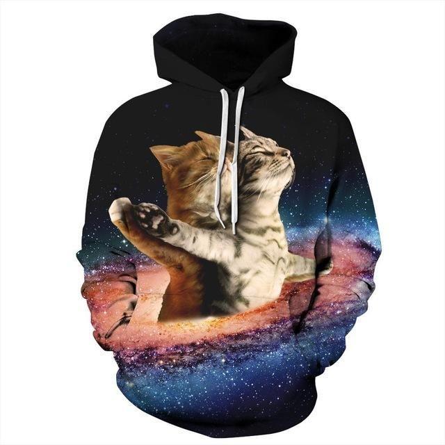 Funny Novelty Hoodie Hoody hooded Top Cat Head