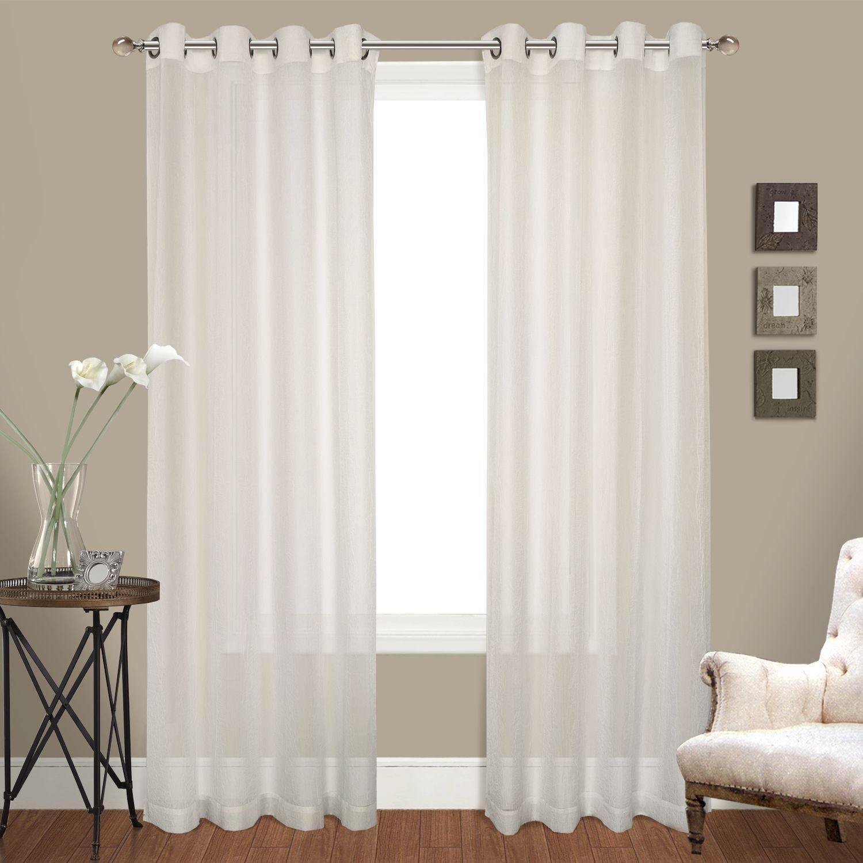 Luxury Collection Venetian Sheer Curtain Panel Pair Grommet