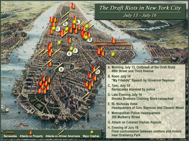 The Draft Riots Of New York City Via Httpbitlyepinner - Map of us before and after the riots