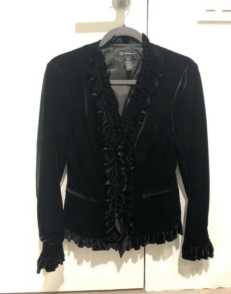 INC Women/'s Black Stand-Collar Ponté-Knit Laced Back Zip Coat Size L /& S $159