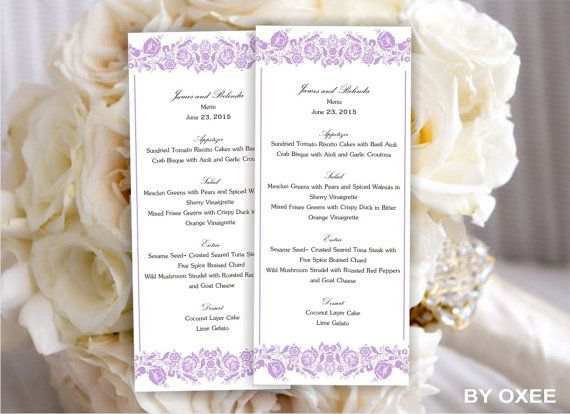 Printable Wedding Menu Template  Lavender Floral Pattern By Oxee