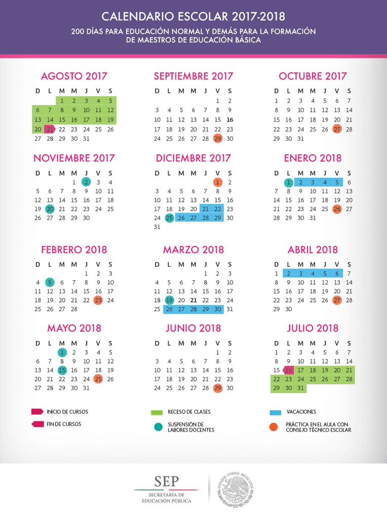 Calendario escolar 20172018 de 200 días Homeschool
