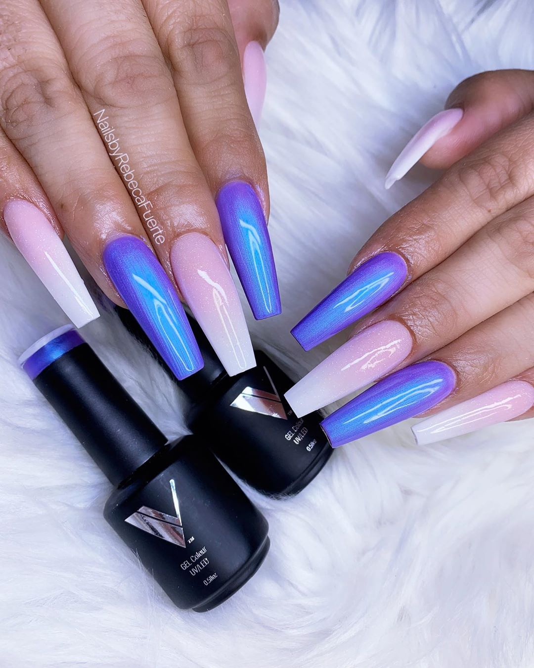 Beautiful Combination In 2020 Purple Acrylic Nails Glow Nails Best Acrylic Nails