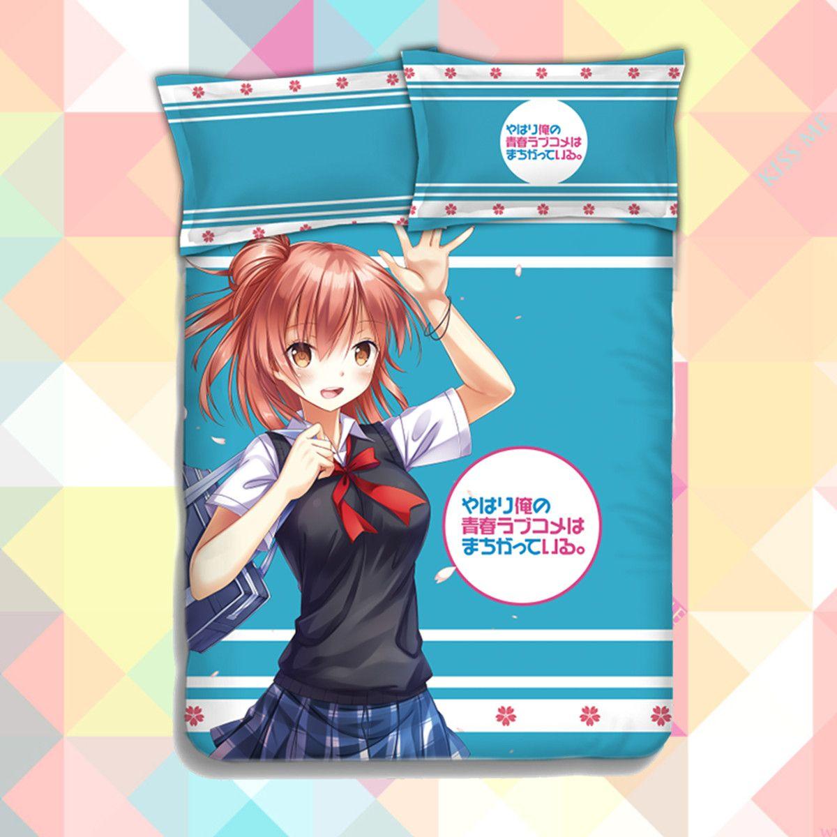 Anime yahari ore no seishun love comedy wa machigatteiru zoku quilt cover soft printed bedding set