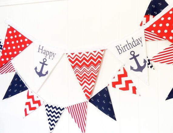 Happy Birthday Anchor Fabric Banner by vintagegreenlimited on Etsy