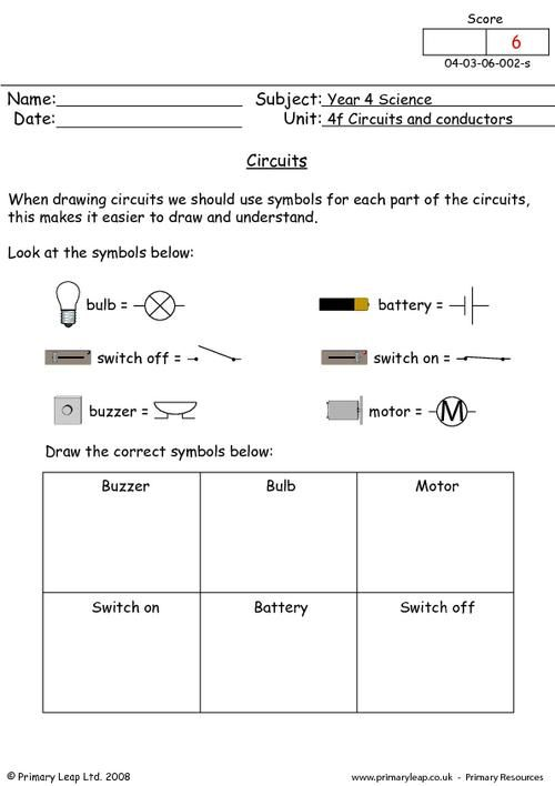 Circuit symbols worksheet | Classroom- Science | Pinterest ...