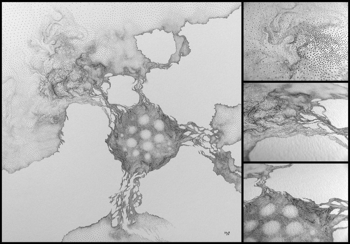 fragmentations et connexions (Dessin),  29,7x29,7 cm par Ktoum dessin en points au rotring (encre) sur papier 300g/m²