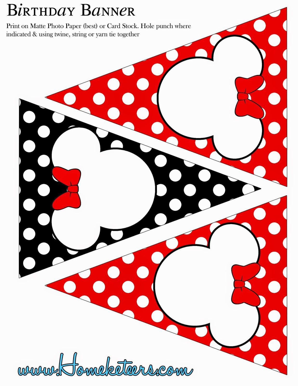 minnie en rojo  negro y lunares: kit para imprimir gratis  ruth