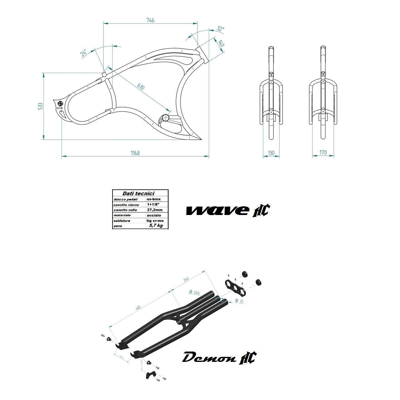 Custom Cruiser Rahmen TSP Wave HC 130mm Limited Edition und Demon ...