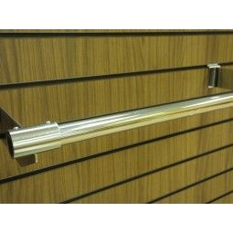 Slatwall 3 metre hanging pole. This slatwall chrome accessory is ideal for clothing displays and hanging products from your slatwall panel or slatwall display unit.