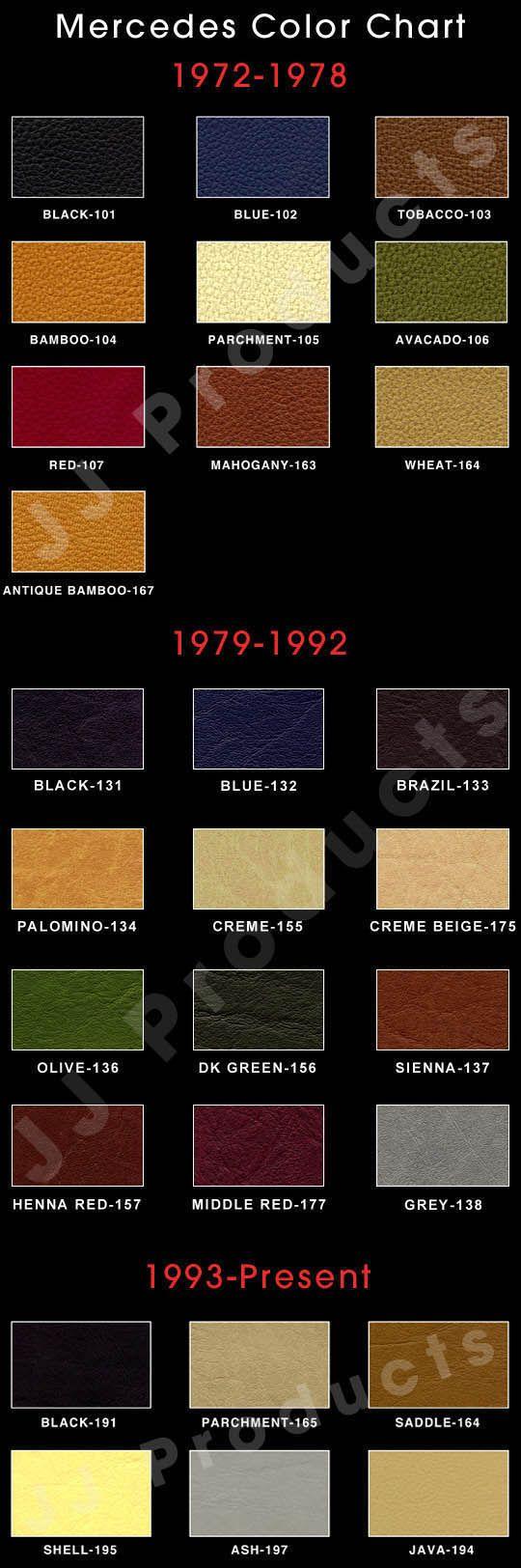 Mercedes Color Chart Mercedes Pinterest Colour Chart And Chart