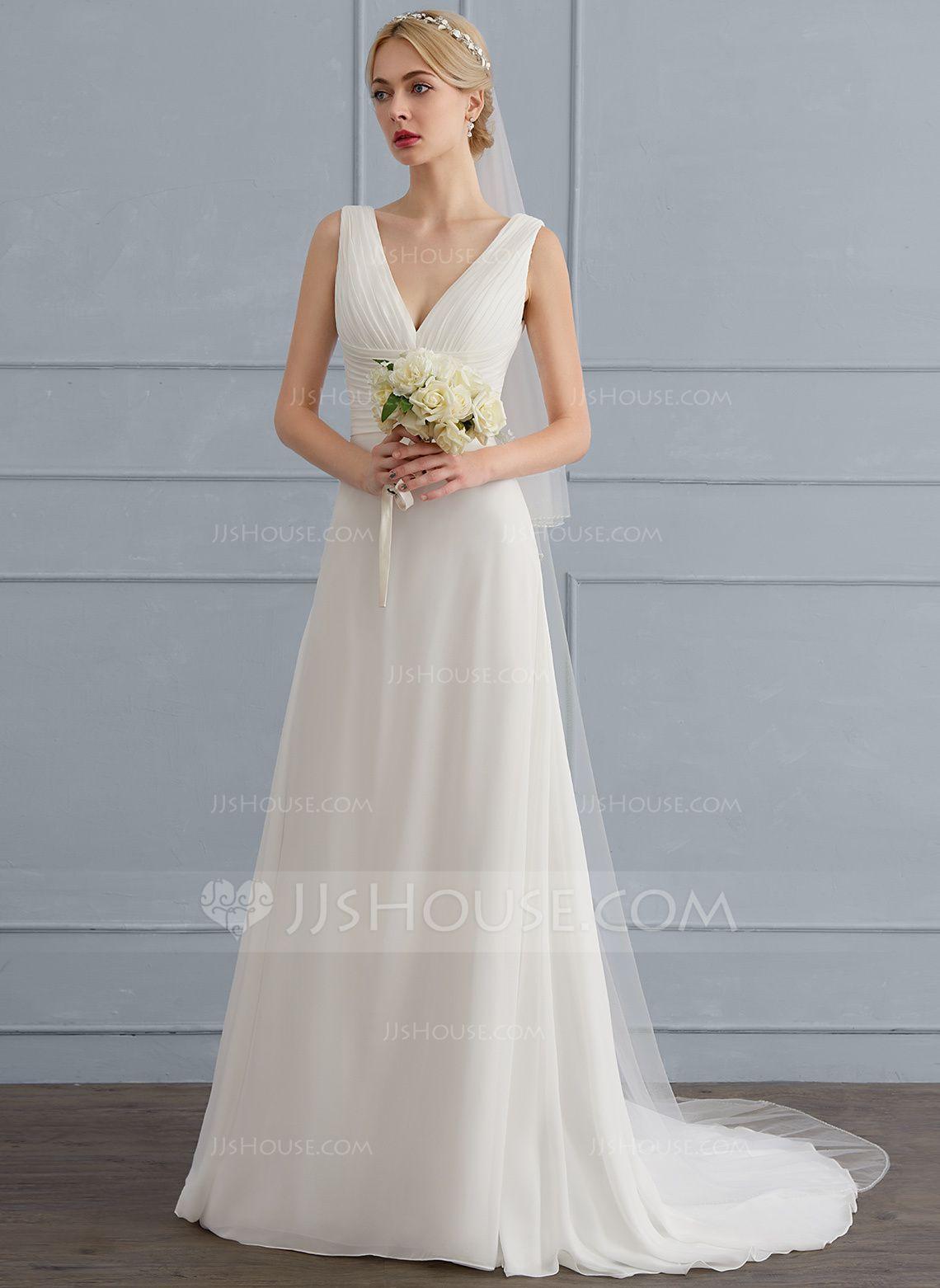 A-Line/Princess V-neck Sweep Train Chiffon Wedding Dress With Ruffle ...