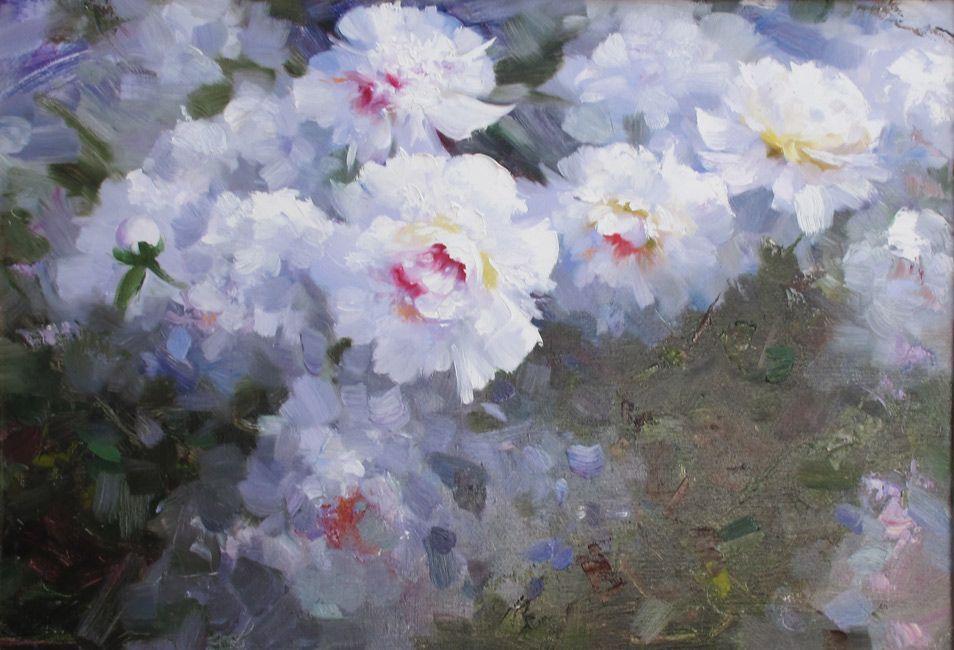 """Nikolaev Jury,  """"Piones"""", canvas, oil, 50x70 cm, 2014  www.art-helicon.ru"""