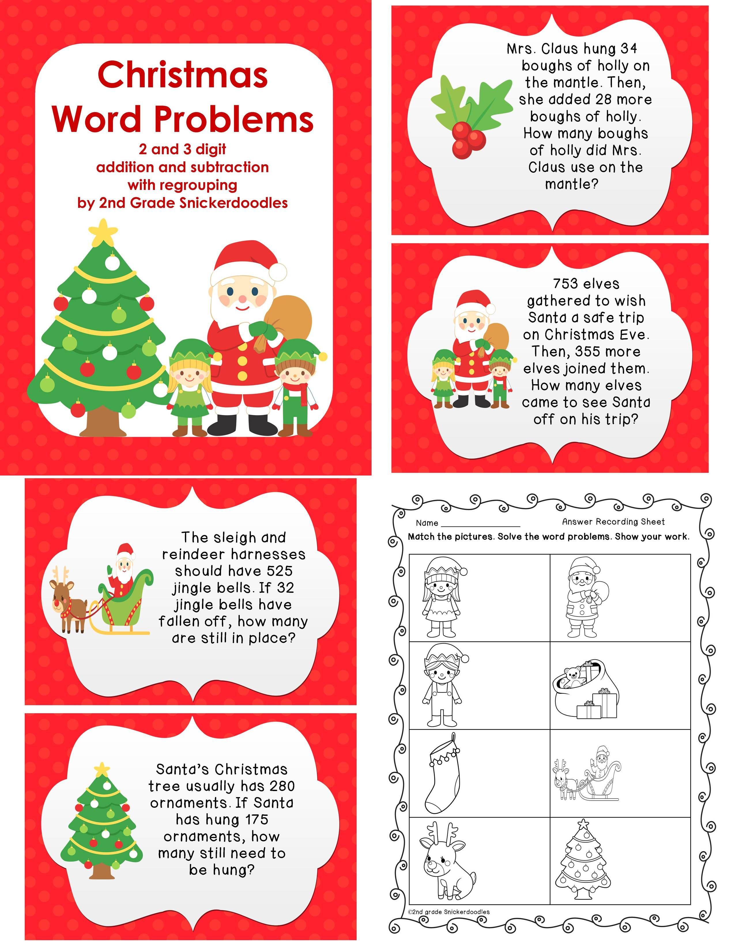 christmas word problems with 2 and 3 digit add sub with regrouping. Black Bedroom Furniture Sets. Home Design Ideas