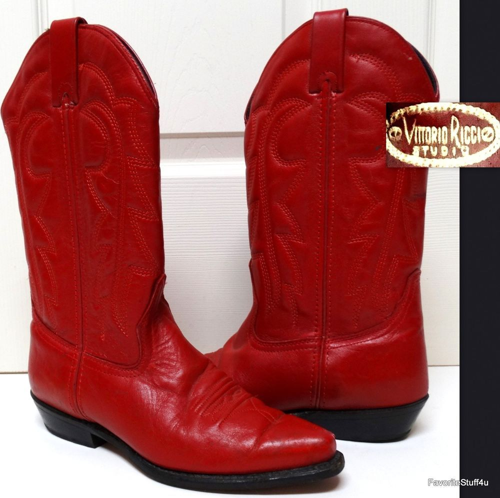 db8a6cd3ad3 Vintage Women's VITTORIO RICCI STUDIO Boots - Cowboy/Western - Red ...