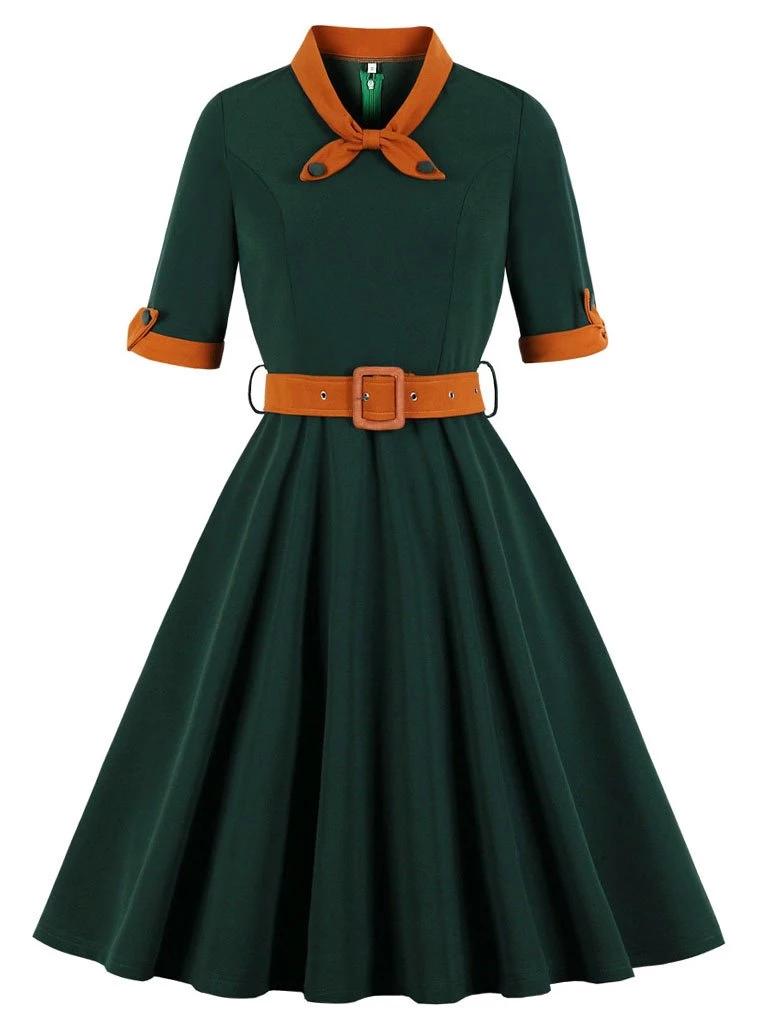Dark Green Swing Vintage 1950s Dress Vintage 1950s Dresses Fit And Flare Dress Vintage Christmas Dress