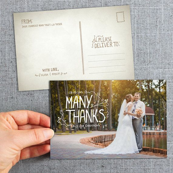 post cards hand lettered thank you cards country rustic or boho wedding - Custom Wedding Thank You Cards