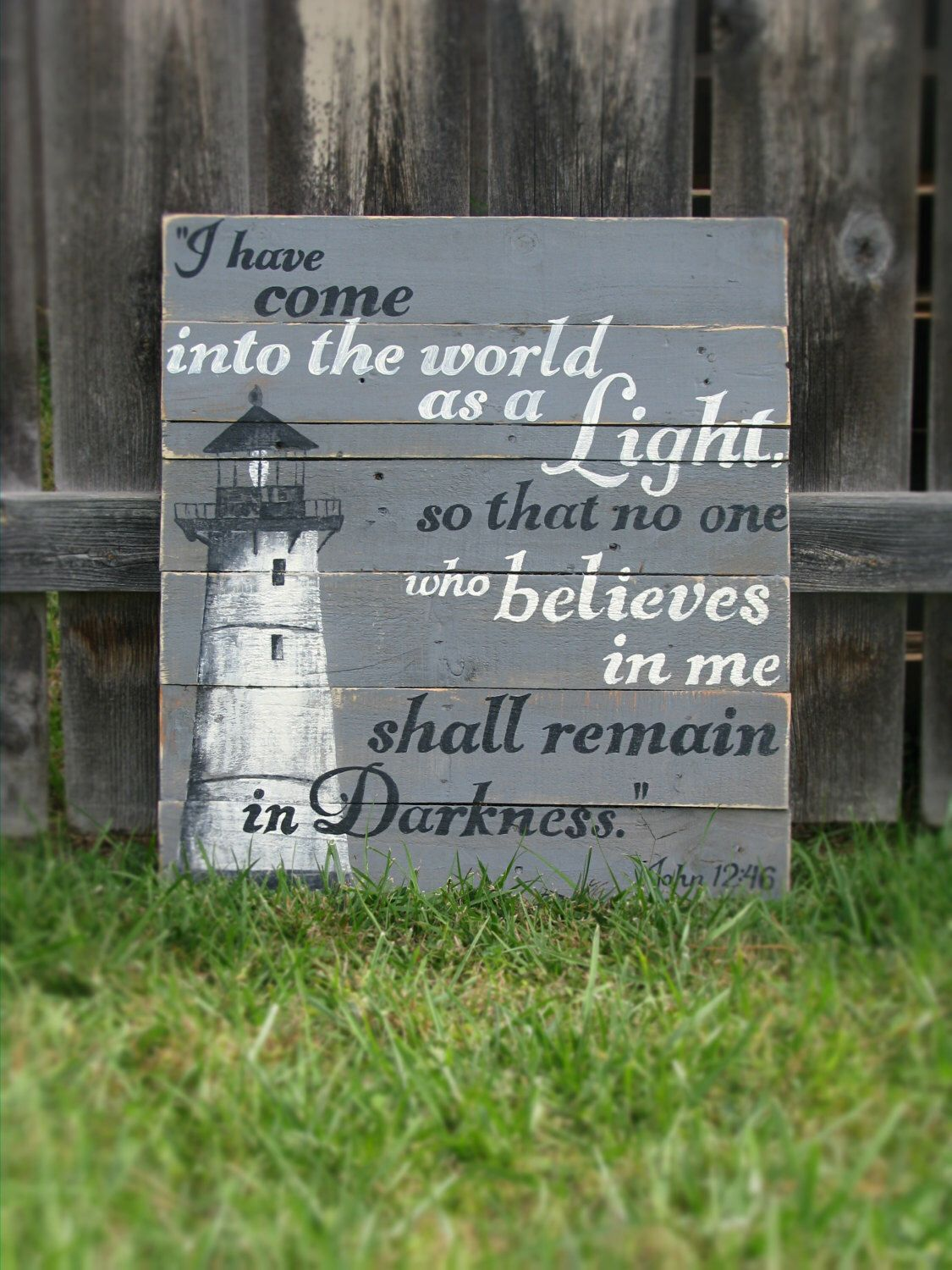 Hand painted lighthouse sign john 1246 on rustic pallet