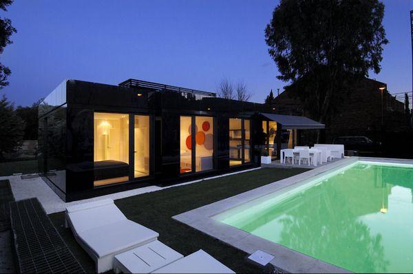 Glass Prefab Homes   Black Glass Modular Home Design By A Cero