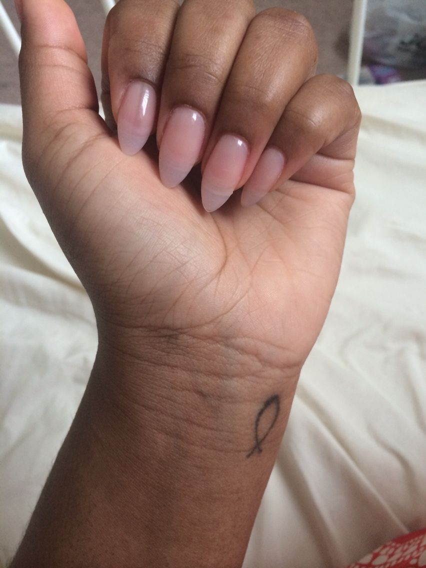 Natural Pink Acrylic Almond Nails Almond Acrylic Nails Almond Nails Diy Acrylic Nails