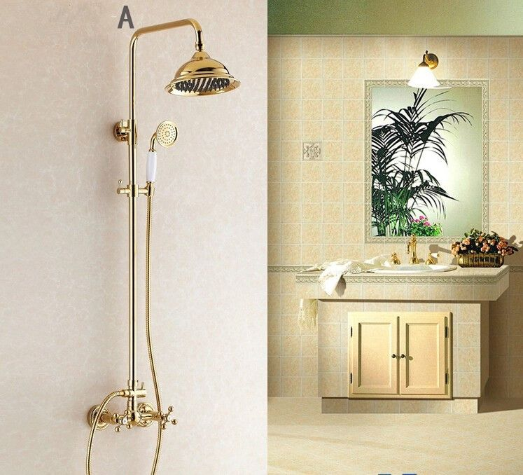 Fashion Europe Style Luxury High Quality Brass Gold Finished Wall Mounted Shower Faucet Set With Rainfa Shower Faucet Sets Bath Shower Mixer Taps Shower Faucet