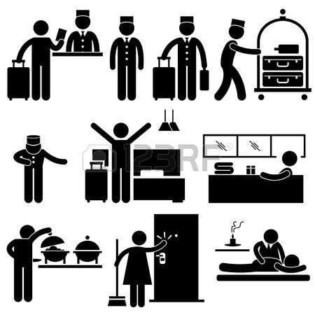 stock vector  pictogram hotel services sharpie drawings