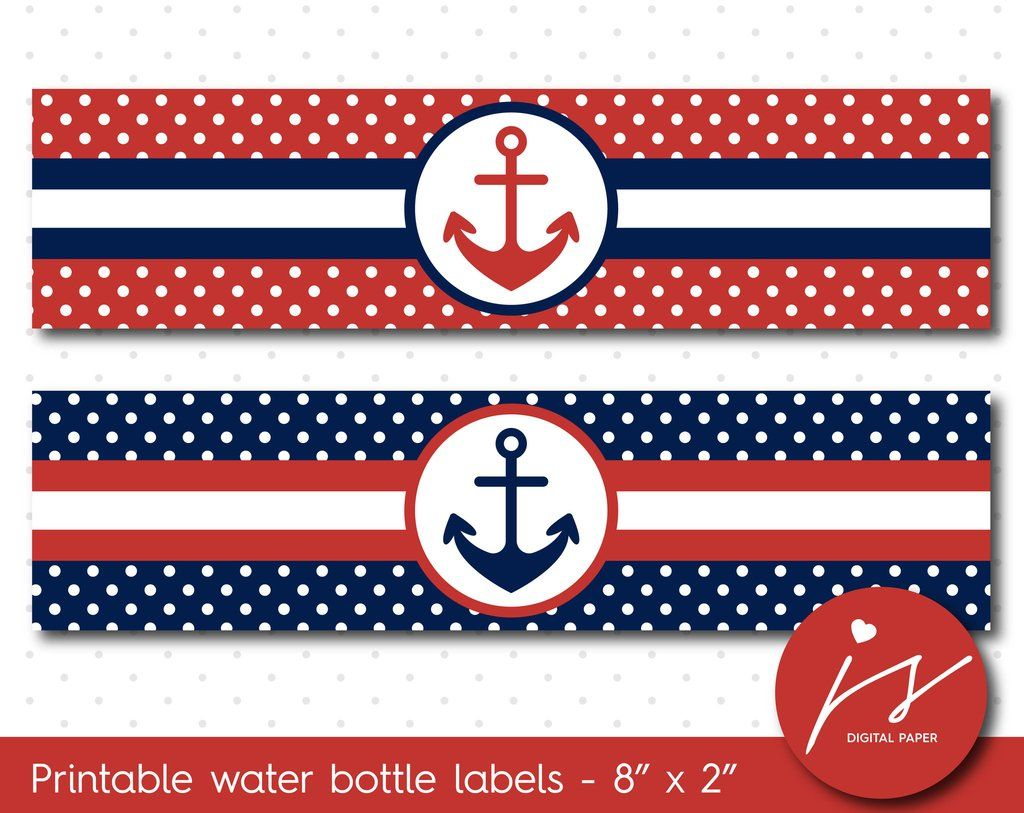 Cherry Red And Navy Blue Nautical Water Bottle Labels With Polka Dots Wa 153 Cumpleanos Marinero Mickey Marinero Baby Shower Con Tematica Nautica