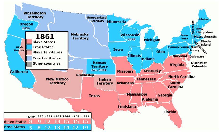 Slavery Map Slave States Map School O O Pinterest Slavery
