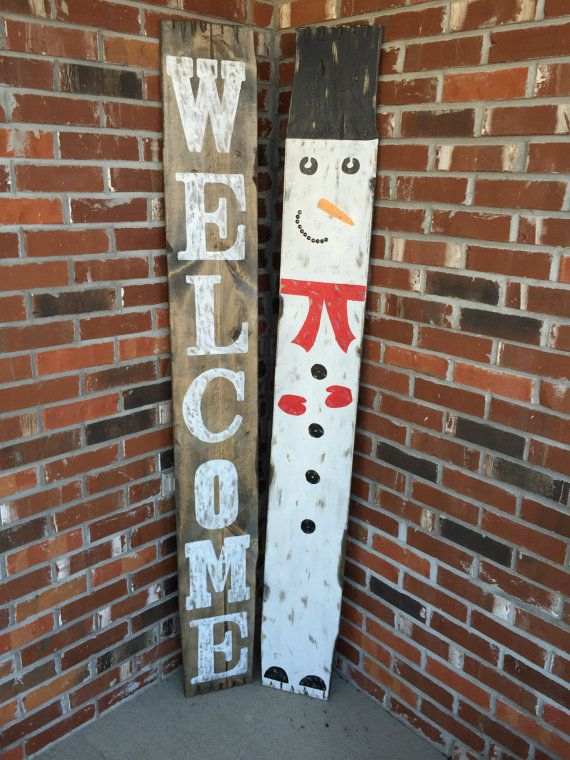 Rustic Christmas Signs Rustic Holiday Signs Rustic Snowman Christmas Signs Wood Christmas Signage Christmas Porch Decor