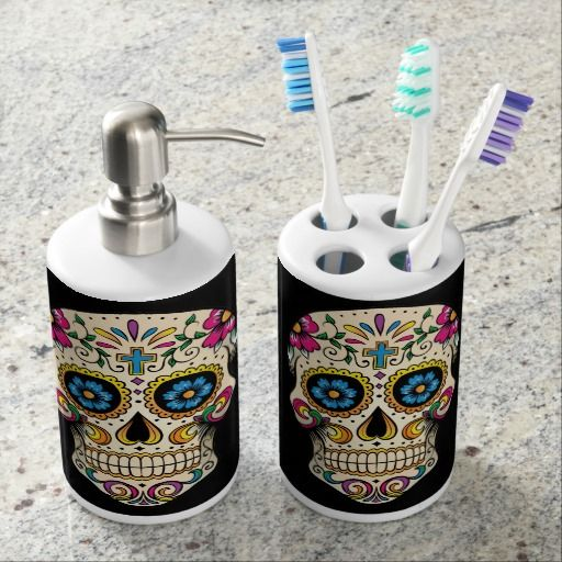 Day Of The Dead Sugar Skull With Cross Bathroom Set Zazzle Com