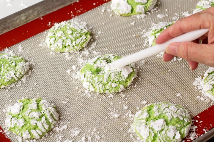Grinch Cookies Recipe-Lemon Crinkle Cookies | The Bearfoot Baker #grinchcookies How to Make Grinch Cookies with a Video | The Bearfoot Baker     #cookierecipe #grinchcookies #Christmascookies #GrinchChristmas #Bearfootbaker #bakedgifts #cookierecipes #thumbprintcookies #thumbprintchristmas #grinch