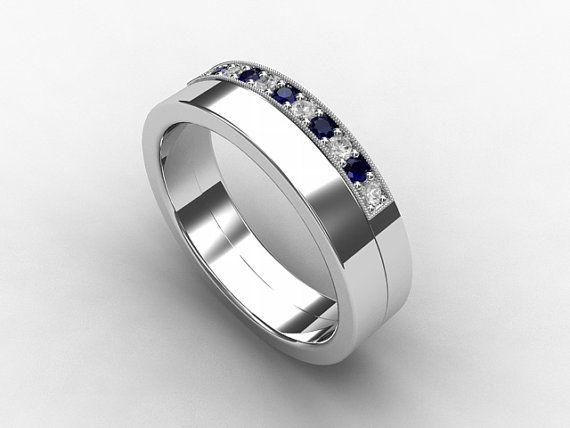 Blue Sapphire Ring Diamond Palladium Wedding Band Mens Ring Blue Wedding Commitment Mens Rings For Men Palladium Mens Wedding Bands Blue Sapphire Rings