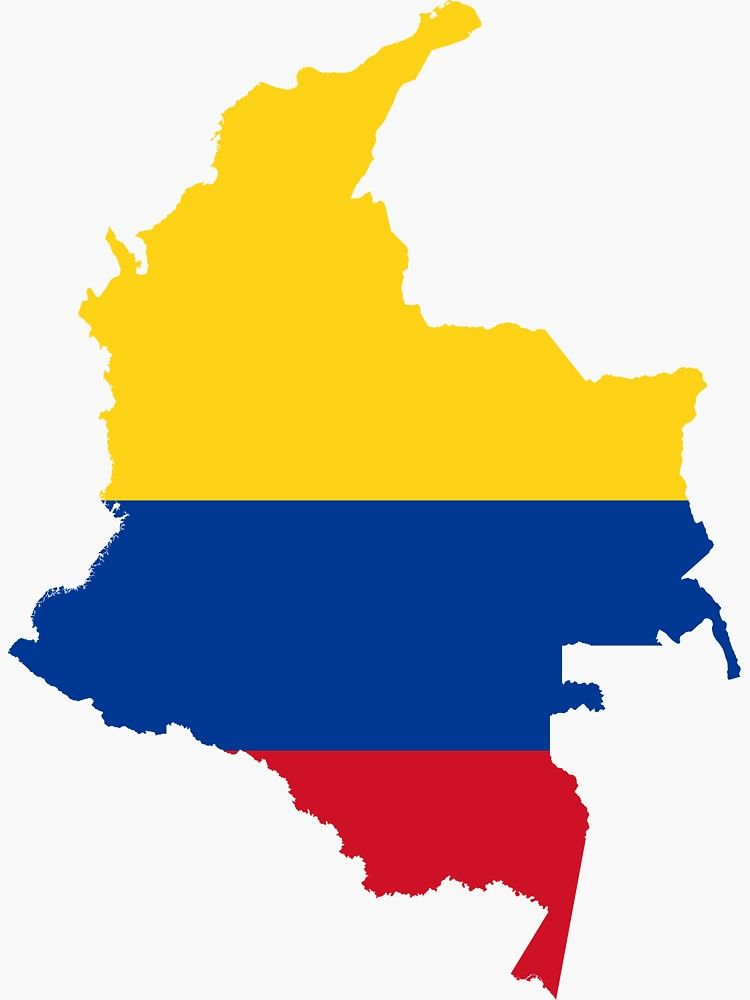 Flag Map of Colombia Sticker