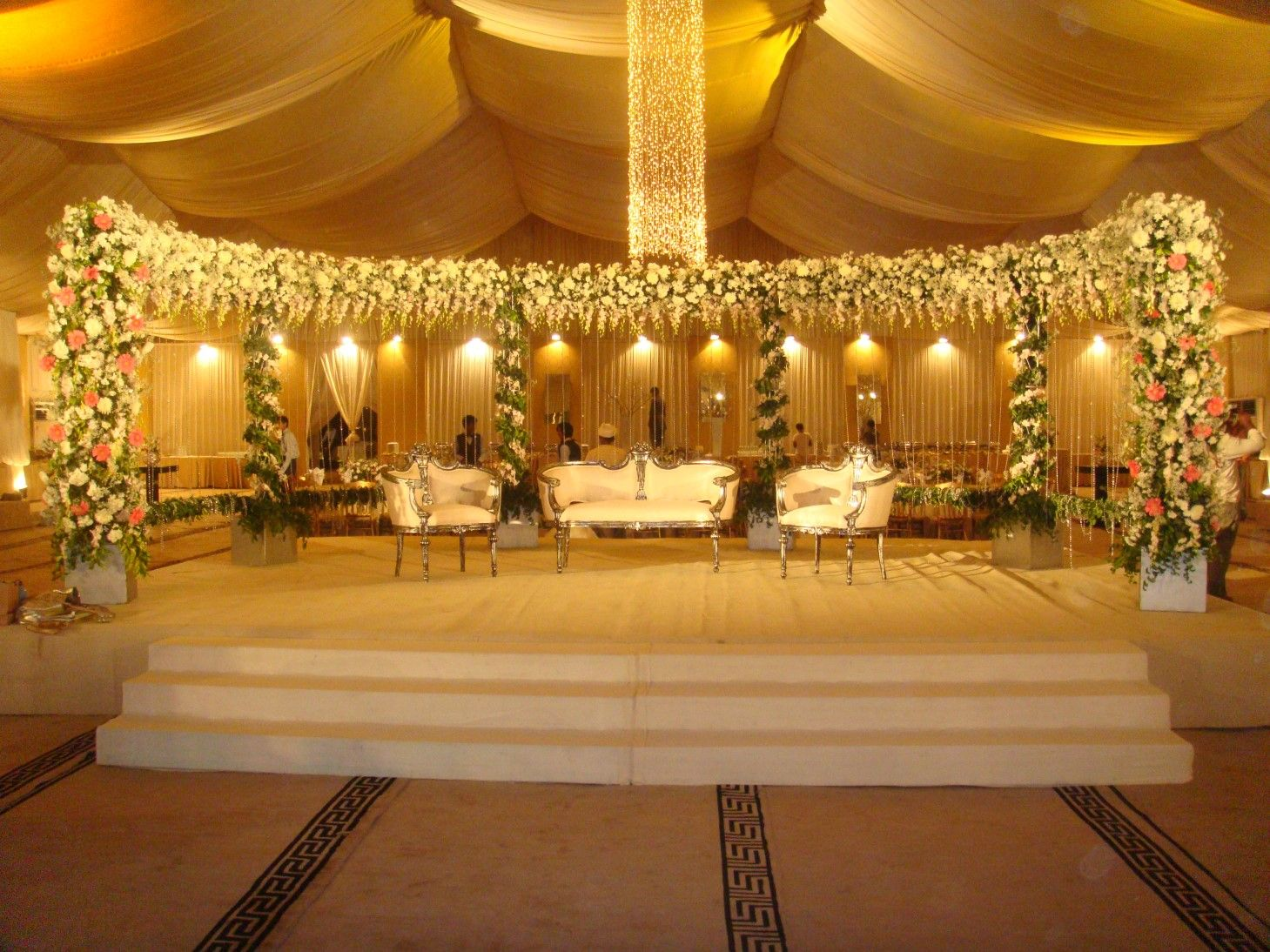 Wedding Stage Decoration with Gold Color Wedding stage decorations Wedding stage Stage