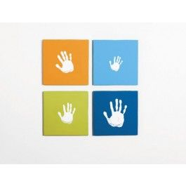 Canvas Handprint Wall Art Set by Pearhead. Mark your baby's first year by creating a handprint every 3rd, 9th and 12 month, or have every member of your familycreate a handprint to make a family or sibling collage.Comes with 4 blank canvases. The possibilities are endless and the outcome is priceless.Features: 4 blank canvases (Available in either:pink, orange, fuschia andlime green
