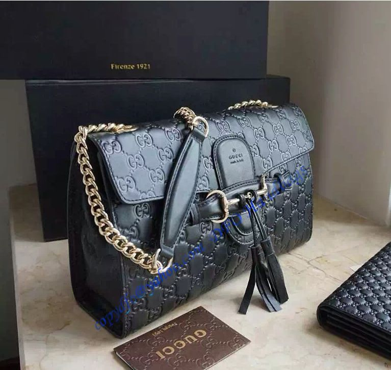 9b86769061a Buy a Gucci Emily Guccissima Large Chain Shoulder Bag GU295402-black at cheap  price- USD 323. Free Global Shipping.