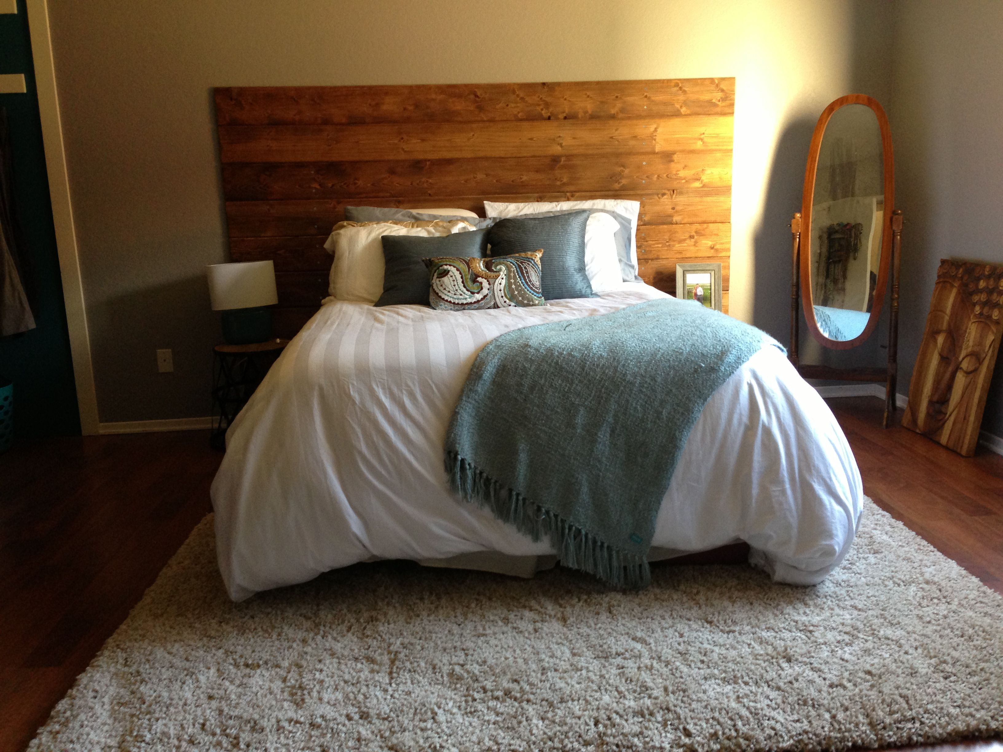 My Version Of The Plank Headboard In My New House Stained Shiplap